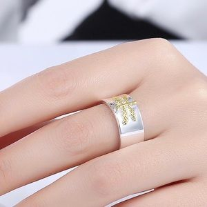 Silver Plated Ring with Gold Plated Dragonfly